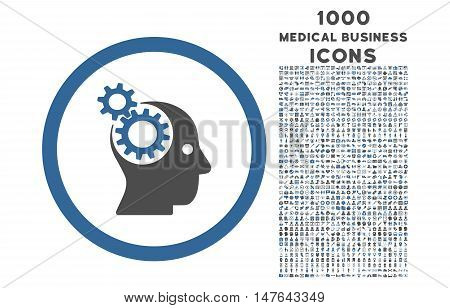 Intellect Gears rounded vector bicolor icon with 1000 medical business icons. Set style is flat pictograms, cobalt and gray colors, white background.