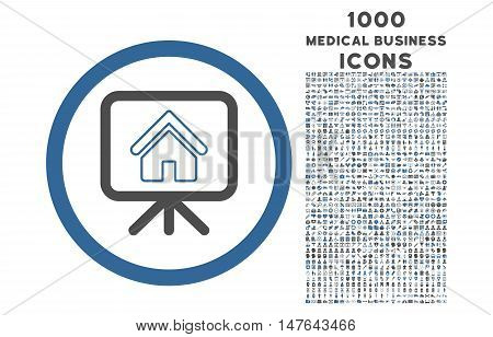 Project Slideshow rounded vector bicolor icon with 1000 medical business icons. Set style is flat pictograms, cobalt and gray colors, white background.
