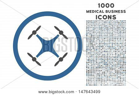 Quadcopter rounded vector bicolor icon with 1000 medical business icons. Set style is flat pictograms, cobalt and gray colors, white background.