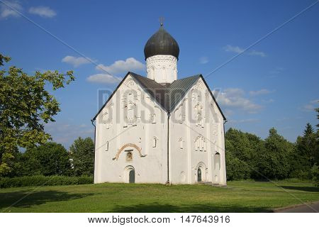 The view of the old Church of the Transfiguration on Ilyina, sunny day in july. Veliky Novgorod