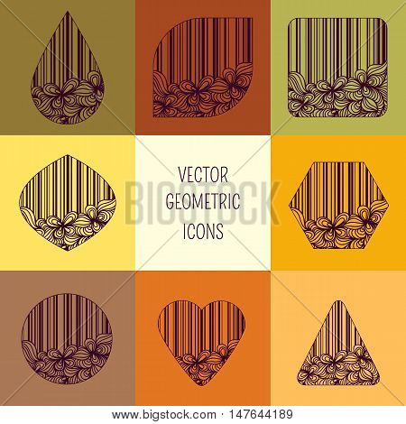 Vector geometric icons with perfect floral design.