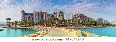Central beach of Eilat - famous resort and recreation city in Israel