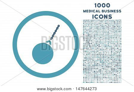 Destruction Hammer rounded vector bicolor icon with 1000 medical business icons. Set style is flat pictograms, cyan and blue colors, white background.