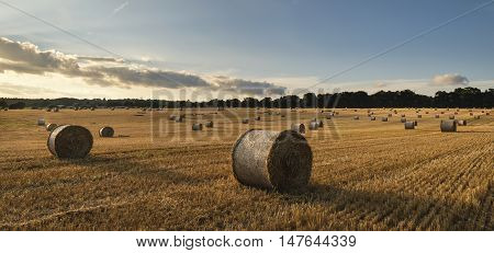 Beautiful Countryside Landscape Image Of Hay Bales In Summer Field During Colorful Sunset