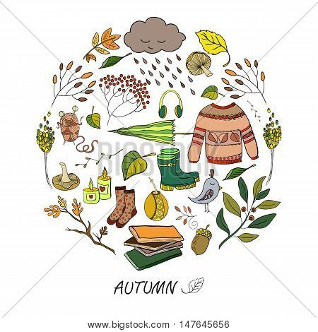 Vector handdrawn autumn elements made in circle. Vector illustration.
