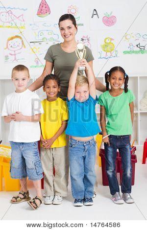 preschool class winning a trophy