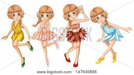 Four fairies in beautiful outfit illustration