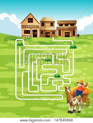 Game template with farmer and farm illustration