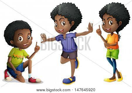 Three african american kids illustration