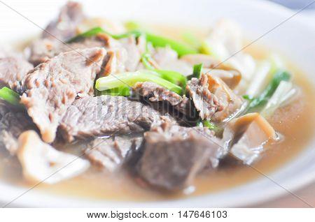 stewed beef or stir-fried beef with vegetable