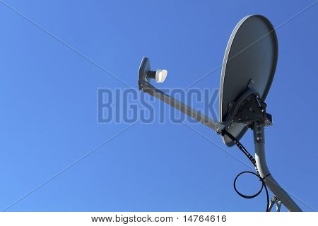 Modern Hd Satellite Dish On A Clear Blue Sky Day