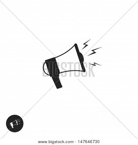 Megaphone vector icon isolated on white background, flat cartoon black and white bullhorn pictogram, speaking trumpet symbol