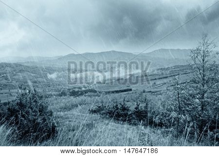 bad weather and rain in the valley