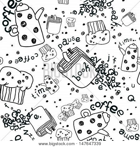Vector Seamless Linear Pattern with Coffee Pots, Muffins and Books. Isolated on White.
