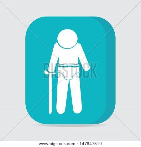 Elderly man with diaper icon vector illustration