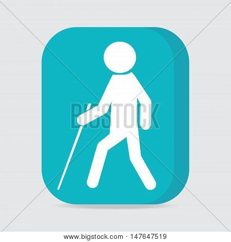 Blind man with stick symbol on button illustration