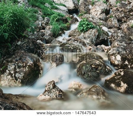 Mountain brook flowing among stones in summer