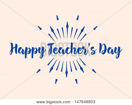 Happy Teacher's Day Typography. Lettering Design For Greeting Card, Logo, Stamp Or Banner. Vector Il
