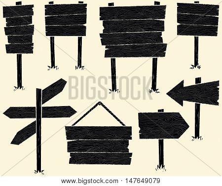Set of 8 black cartoon wooden sign.