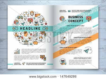 Vector business brochure template A4 size. Shopping, e-commerce, marketing and media isolated line art icons. Design mock-up layout flyers, banners, covers, catalog on creative wooden background