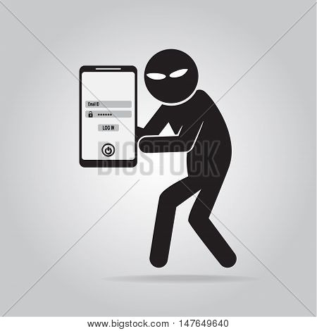 Hacker Internet security concept. protection to stealing a data on mobilephone