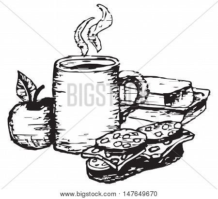 woodcut style illustration of breakfast with apple and coffee cup