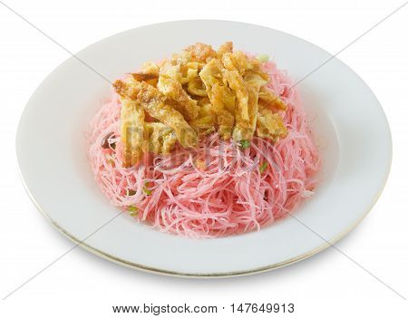 Thai Cuisine and Food Dish of Red Stir Fried Rice Vermicelli Served with Julienne Omelet and Chopped Scallion.