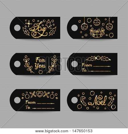 Christmas Gift Tags With Gold Texture And Sparkles. New Year Labels. Joy and Noel Lettering With Golden Design. Line Art Style Vector Illustration.