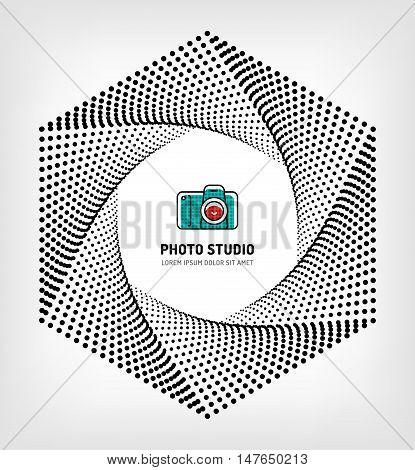 Photo studio logo design template, Camera aperture, shutter symbol. Photo and photographer modern concept, vector illustration