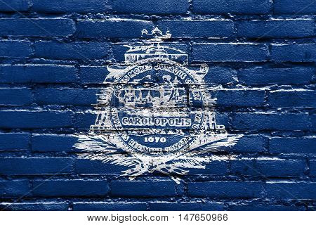 Flag Of Charleston, South Carolina, Usa, Painted On Brick Wall