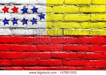 Flag Of Chone, Ecuador, Painted On Brick Wall