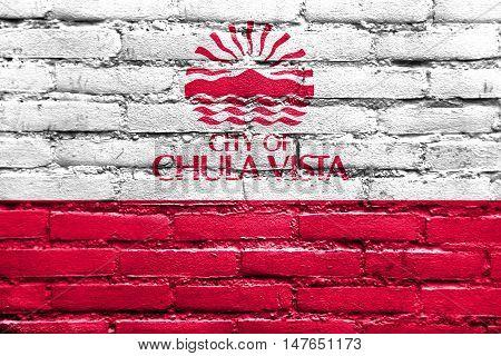 Flag Of Chula Vista, California, Usa, Painted On Brick Wall