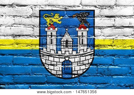 Flag Of Czestochowa With Coat Of Arms, Poland, Painted On Brick Wall