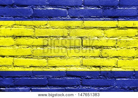 Flag Of Debrecen, Hungary, Painted On Brick Wall