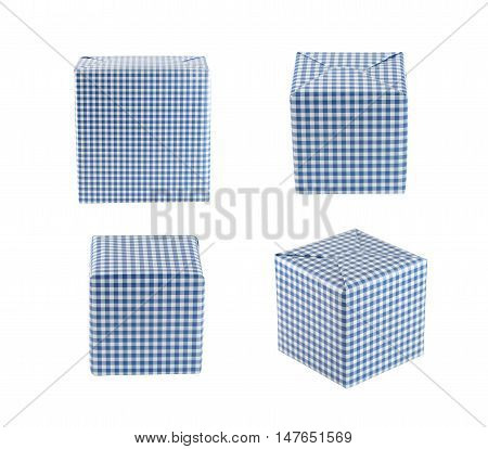 Blue gift box set isolated on white background and have clipping paths.