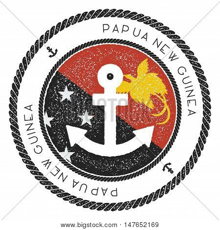 Nautical Travel Stamp With Papua New Guinea Flag And Anchor. Marine Rubber Stamp, With Round Rope Bo