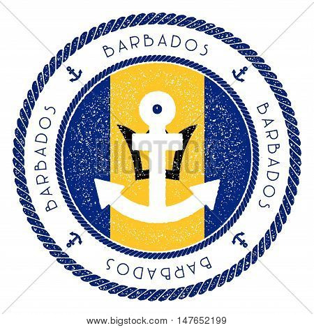 Nautical Travel Stamp With Barbados Flag And Anchor. Marine Rubber Stamp, With Round Rope Border And