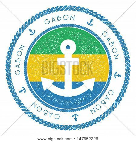 Nautical Travel Stamp With Gabon Flag And Anchor. Marine Rubber Stamp, With Round Rope Border And An