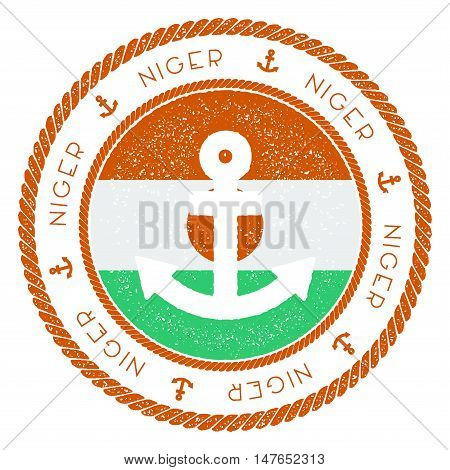 Nautical Travel Stamp With Niger Flag And Anchor. Marine Rubber Stamp, With Round Rope Border And An