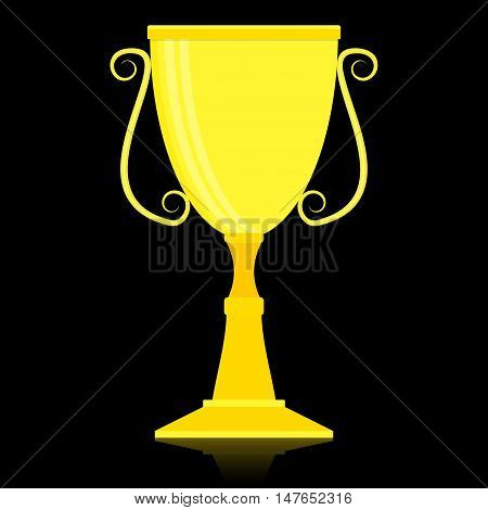 Cup winner gold. Golden cup and trophy goblet. gold trophy cup vector illustration