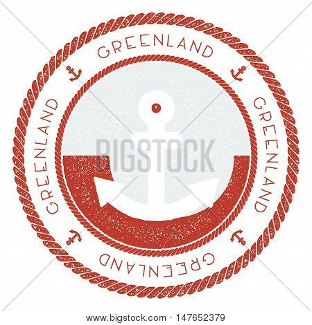 Nautical Travel Stamp With Greenland Flag And Anchor. Marine Rubber Stamp, With Round Rope Border An