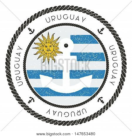 Nautical Travel Stamp With Uruguay Flag And Anchor. Marine Rubber Stamp, With Round Rope Border And