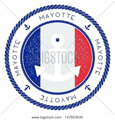 Nautical Travel Stamp With Mayotte Flag And Anchor. Marine Rubber Stamp, With Round Rope Border And