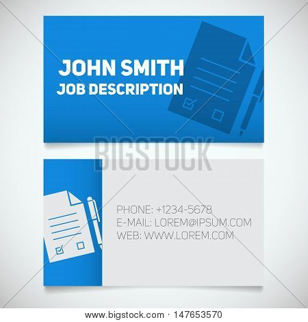 Business card print template with signed contract and pen logo. Easy edit. Lawyer. Negotiator. Stationery design concept. Vector illustration
