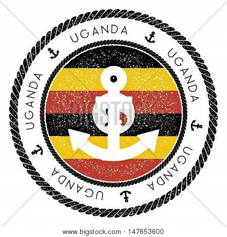 Nautical Travel Stamp With Uganda Flag And Anchor. Marine Rubber Stamp, With Round Rope Border And A