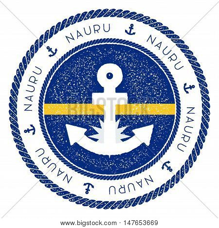 Nautical Travel Stamp With Nauru Flag And Anchor. Marine Rubber Stamp, With Round Rope Border And An