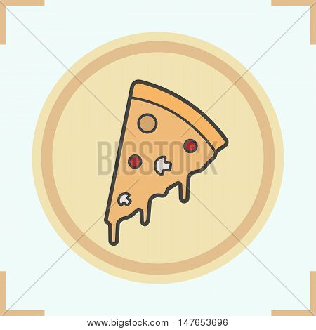 Pizza slice on plate color icon. Pizzeria sign. Italian pizza with flowing cheese. Isolated vector illustration