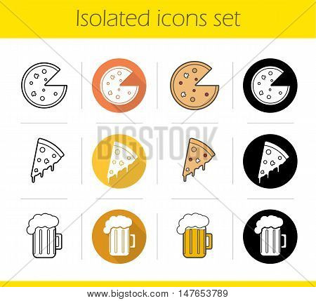 Pizzeria icons set. Flat design, linear, black and color styles. Pizza slice, foamy beer mug. Isolated vector illustrations
