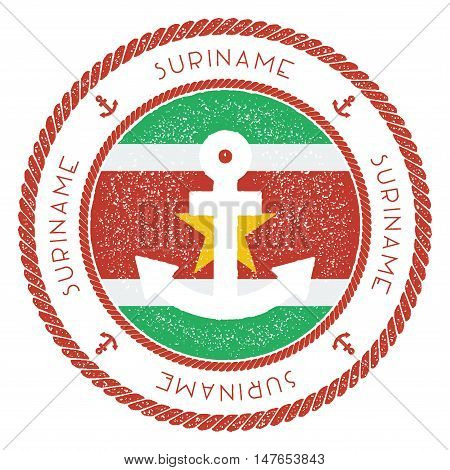 Nautical Travel Stamp With Suriname Flag And Anchor. Marine Rubber Stamp, With Round Rope Border And
