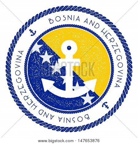 Nautical Travel Stamp With Bosnia And Herzegovina Flag And Anchor. Marine Rubber Stamp, With Round R